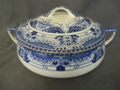 B1  Buffalo Pottery Vienna Flow Blue Round Covered Vegetable Dish