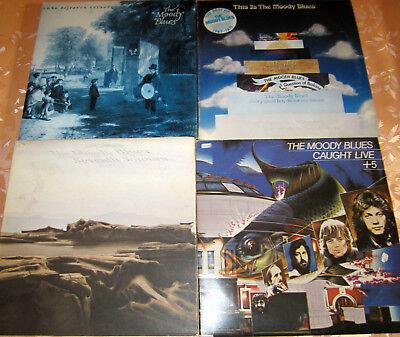 4x LPs - MOODY BLUES davon 2 DoLPs !! This Is, Caught Live usw...