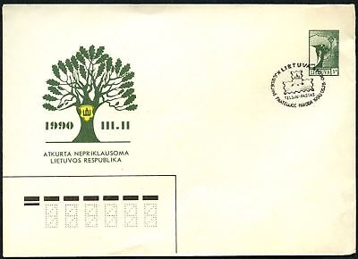Lithuania 1990 Restored Independence Stationery Cover Used Special H/S #C45056