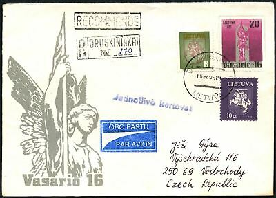 Lithuania 1994 Registered Cover To Czech Republic #C45048