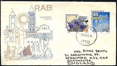 Croatia 1992 Commercial Cover To England Stamps On Back #C44947