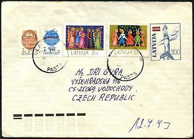 Latvia 1990's Airmail Commercial Cover To Czech Republic #C45059