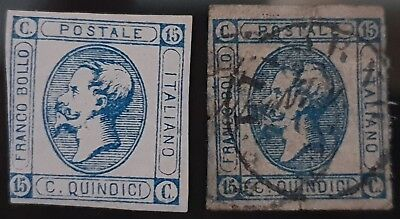 Italy 1863 Sg # 7 Blue 15c Mint and Used Stamps