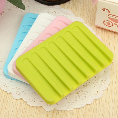 Flexible Bathroom Silicone Soap Dish Storage Holder Soapbox Plate Tray Drain SG