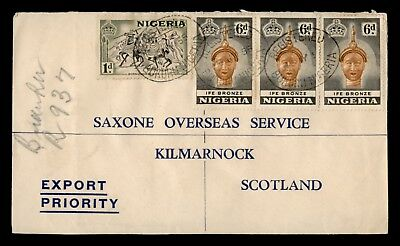 1955 Nigeria Multi Franked Registered To Scotland