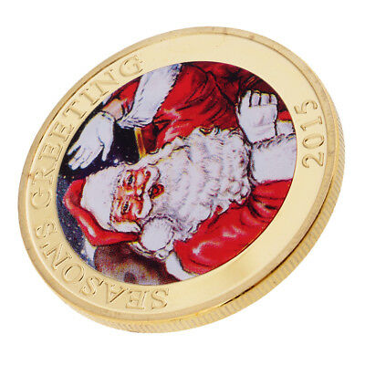 Gold Plated Christmas Santa Claus Lucky Commemorative Coin Toy for Xmas Gift