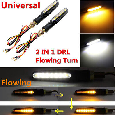 2Pcs 12V 15LED DRL Flowing Motorcycle Turn Signal Indicator Lights Lamp Replace