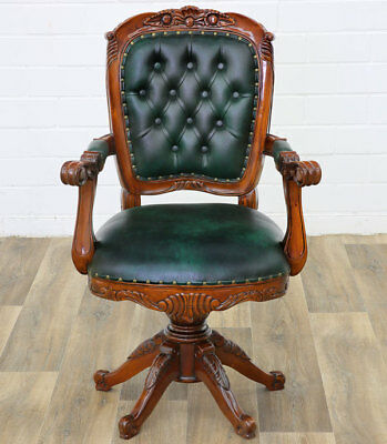 MAHAGONI CLASSIC DREHSTUHL, bequemer OFFICE-CHAIR, DREHSESSEL MÖBEL racing-green