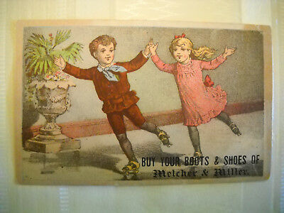 BOOTS & SHOES Victorian TRADE CARD CHROMOLITHO children rollerskate LEWISTON ME