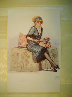 WOMAN TIES BOW ON PIG antique unused French postcard LITHOGRAPH artist JEAN TAM