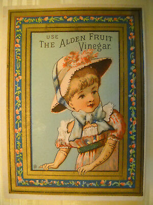 ALDEN FRUIT VINEGAR Victorian trade card CHROMOLITHO girl hat gloves SYRACUSE NY