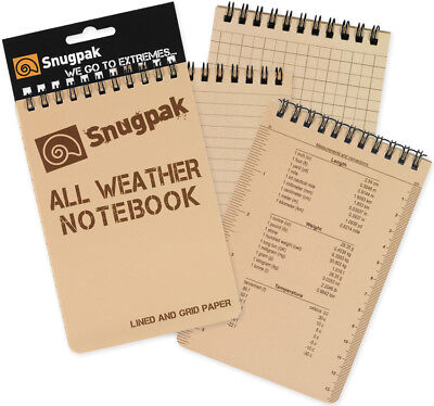 "Snugpak SN97375 Tan Small All Weather Notebook Conversion Charts 3""x5"""