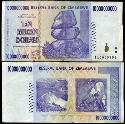 ZIMBABWE 10 BILLION DOLLARS P 85 CIRCULATED USED in 100 TRILLION SERIE
