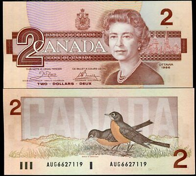CANADA 2 DOLLARS 1986 P 94 a CROW BOUEY UNC