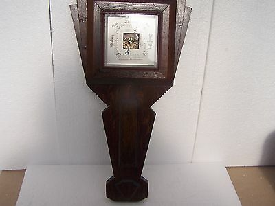 antique barometer on long solid oak wood base 22inch long see through movement
