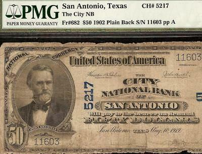 Large 1902 $50 Dollar City National Bank San Antonio Texas Note Currency Pmg