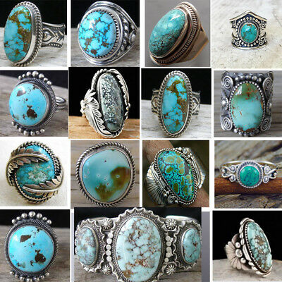 925 Sterling Silver Turquoise Gemstone Ring Men Bohemian Women's Party Jewelry