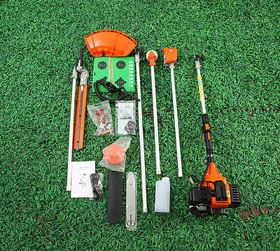 52cc 5in1 Petrol Hedge Trimmer Chainsaw Strimmer Brushcutter Garden Multi Tool W