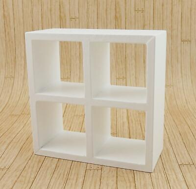 Melody Jane Dolls House 4 Cube Display Unit White Modern Shelves Bookcase 1:12