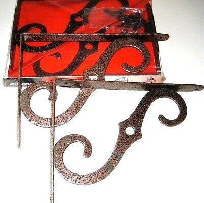 Lot of 2 PAIRS Ornamental FORGED IRON Brackets Shelf Plant Lantern Sign Hanging