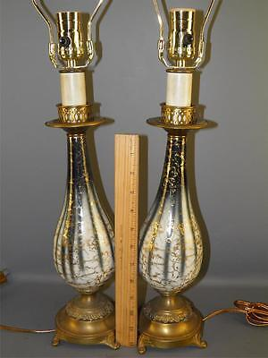 Antique Pr Blue & White Porcelain Gilded Bronzed Metal Bases Boudoir Table Lamps