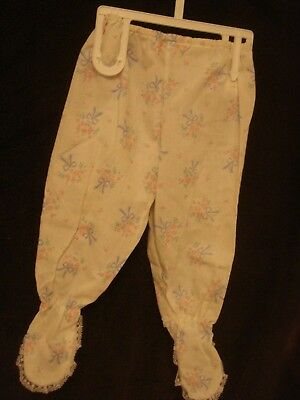Vintage Infant Girl Footed Lace Trimmed Pants Pink Blue Print 0-6 Months EUC