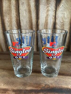 MTV's Singled Out Miller Lite Beer Pint Glasses Set Of 2