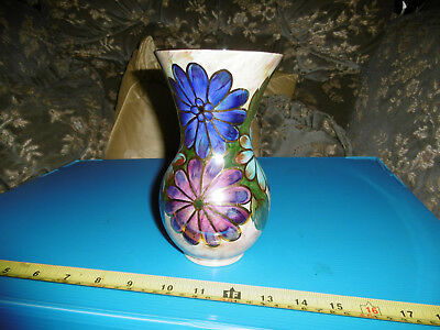 Vintage Oldcourt Ware Hand Painted  Lustre Vase Flowers Dove 18cm Tall
