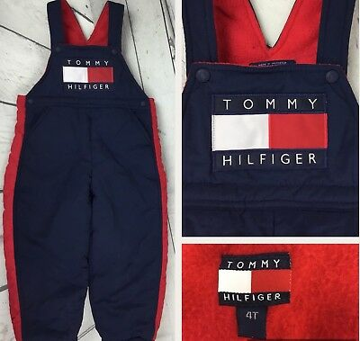 Vintage Tommy Hilfiger Overalls Snow Bib Fleece Lined Spell Out Flag 90s Kids 4T