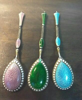 Set of 3 Antique Marius Hammer Spoons 930 Sterling blue purple green