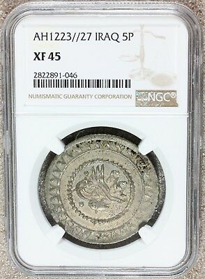 AH 1223//27 (1808) Iraq 5 Piastres Billon Coin - NGC XF 45 - KM# A78