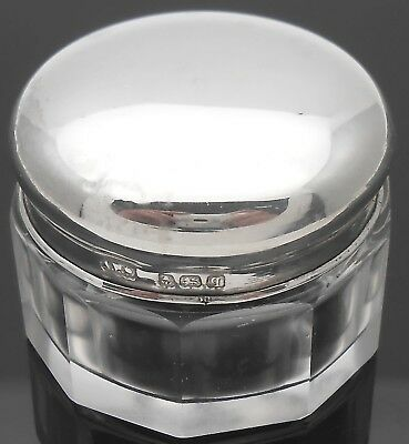 Sterling Silver Lidded Glass Creme Jar - Birmingham 1915 - Antique