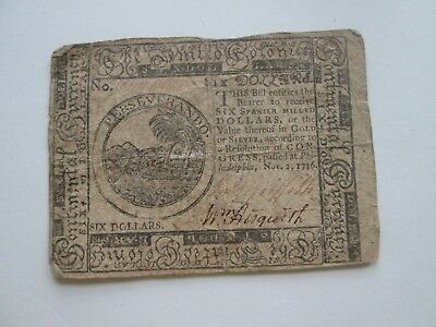 (1) COLONIAL CURRENCY NOTE,  SIX DOLLARS, PHILADELPHIA, 1776 as seen in the pics