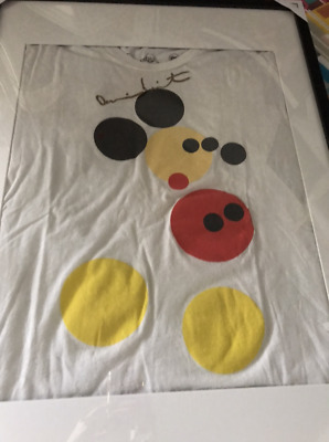 SIGNED DAMIEN HIRST Gold Limited Edition MICKEY MOUSE SHIRT Collectible UNIQUE!