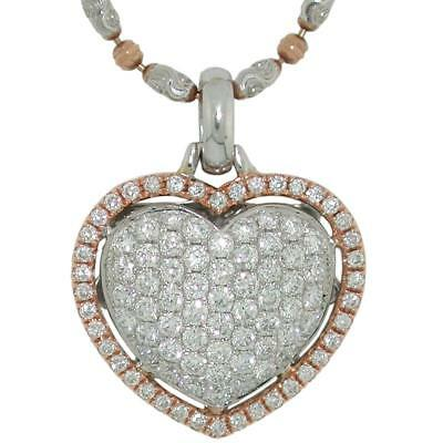 1.36 TCW Round Cut Diamonds Heart Pendant Necklace In Solid 14k Two-Tone Gold