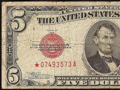 1928 E $5 DOLLAR BILL STAR UNITED STATES LEGAL TENDER RED SEAL NOTE Fr 1530*