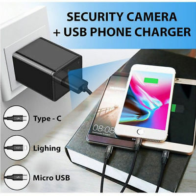 1080P Spy Camera Adapter Charger Wall Phone Wireless WiFi Hidden Cam US Stock