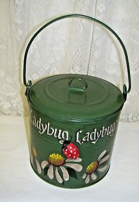 Vintage Tole Painted Ladybug and Daisy Tin Box with handle and lid