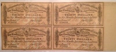 Civil War, Four $30.00 Interest receipts, from a 1864 Confederate $1000 Bond