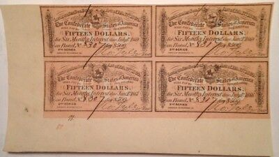 Civil War, Four $15.00 Interest receipts, from a 1864 Confederate $500 Bond