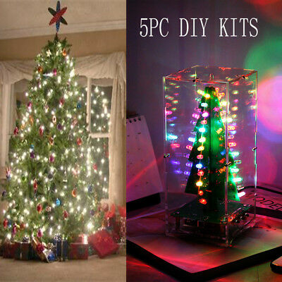 DIY Kit LED Circuit Colorful Christmas Tree MP3 Music Box with Shell for Gift