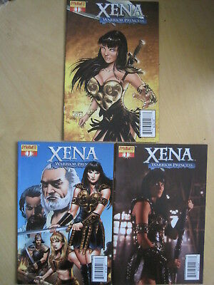 XENA , WARRIOR PRINCESS , 2006 DYNAMITE SERIES : SET of 3 issue 1 VARIANT COVERS