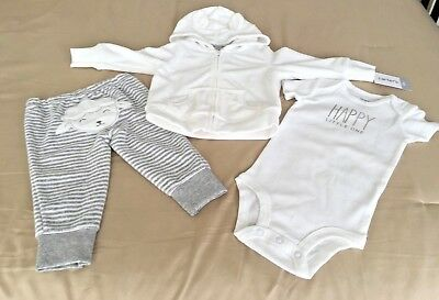 New Carters 3-Pc Grey & White  9-Mo  Jacket Ones Stripped Pants