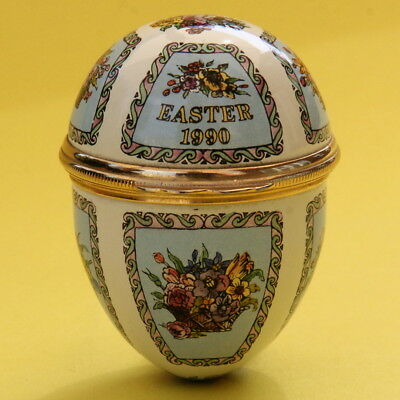 Halcyon Days English Enamel Egg Pill Trinket Box Flowers Easter 1990