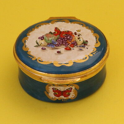 Crummles English Enamel Pill Trinket Box Fruit And Butterflies