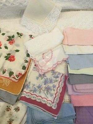 Vintage Cutters Lot Of 18 Colorful Floral & Solid Hankies Womens Handkerchiefs