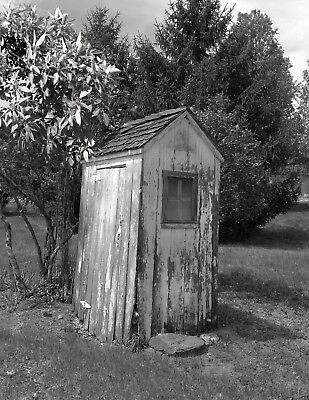Black White Bath Decor, Vintage Outhouse, Farmhouse Bathroom Wall Art Picture