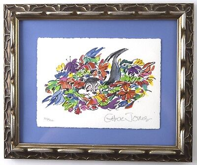 Framed Pepe Le Pew Bouquet Limited Ed. Giclee - Signed by Chuck Jones Flowers