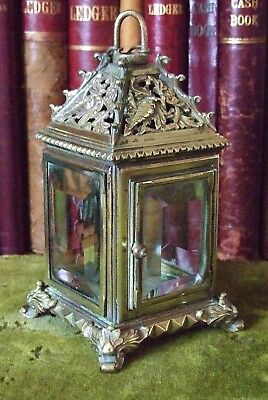 Antique  Heavy & Ornate Quality Cast Brass Electric Hanging Or Table Lantern