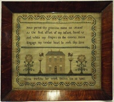 Early/mid 19Th Century House & Verse Sampler By Selina Perkins - December 1841